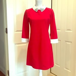Ted Baker red dress with collar detail
